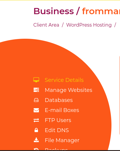 click manage websites so you can install wordpress on your site