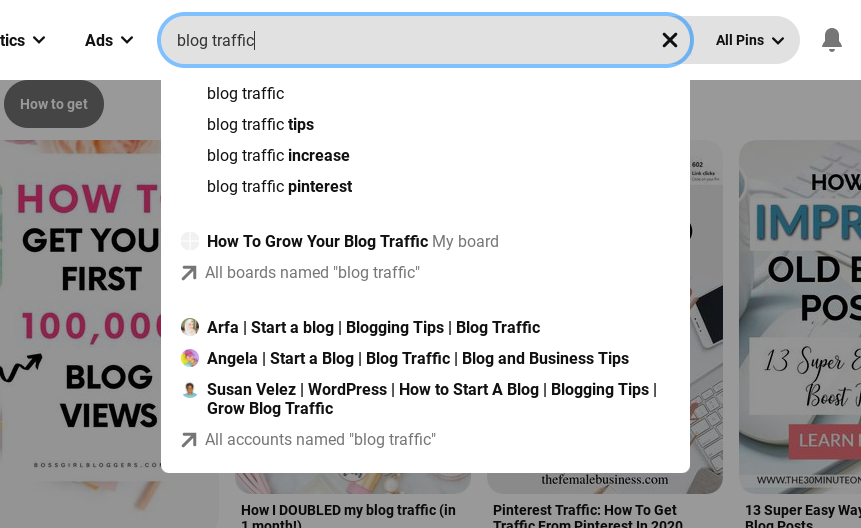 look for keywords in the search bar for pinterest to optimize your pinterest boards